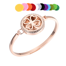 Four Leaf Clover Shape Perfume Air Freshener Bangle Stianless Steel Essential Oil Diffuser Locket Pendant Braclet Fragrant(China)
