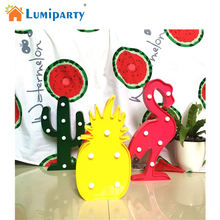 Lumiparty 3D Tropical LED Flamingo Pineapple Cactus Light Romantic Night Lamp Table Lamp Home Christmas Party Decor(China)