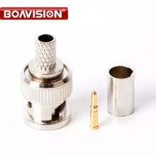 BNC Male Crimp Plug Connector RG59 Coaxial Cable BNC Connector BNC Male 3-Piece Crimp Connector Plugs RG59 100Pcs(China)