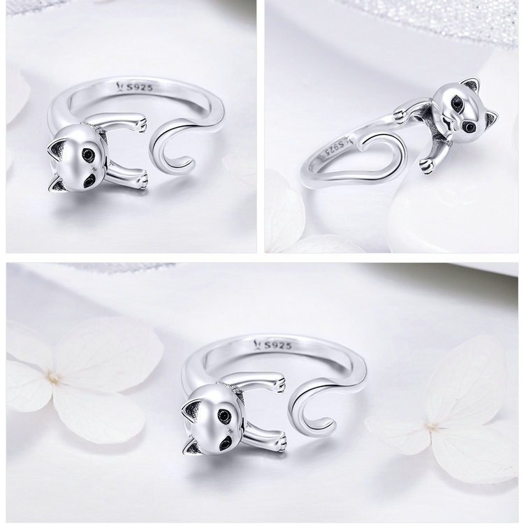 Genuine 925 Sterling Silver Long Tail Naughty Cat Rings