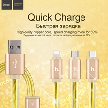 ORIGINAL HOCO UPL12 one-pull-Three Charging Data Cable for Lightning +Type-C+Micro USB 1m fast three in one free shipping