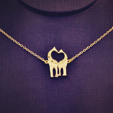 New fashion jewelry chain link double Giraffe pendant necklace for women girl nice gift N1731