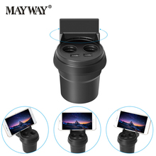 Portable with 360 Roration Holder Dual USB Cup Type Car Charger Cigarette Lighter Splitter Phone Charging for Xiaomi iPhone 7