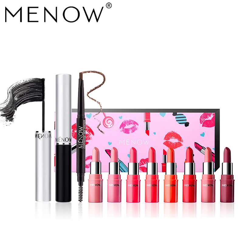 MENOW Brand Make up set Waterproof Mascara &amp;Eyebrow Pencil With  Brush &amp;  8 Color Lipstick kit Cosmetics drop ship wholesale5442<br>
