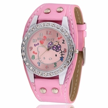 Hot Sale Fashion Cartoon Watch Hello Kitty Watches for Girls Kid Children Women Casual Quartz Wristwatches Reloj(China)