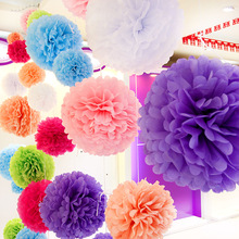 "Diy Multi Colour 12"" 30cm 5pcs Paper Flowers Kissing Ball Wedding Home Birthday Party Car Decoration Tissue Paper Pom Poms"