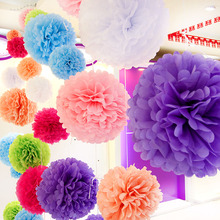 "Diy Multi Colour 12"" 30cm 5pcs Paper Flowers Kissing Ball Wedding Home Birthday Party Car Decoration Tissue Paper Pom Poms(China)"