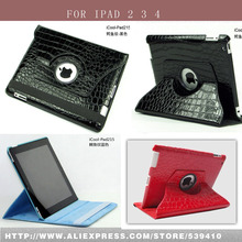 Luxury Crocodile Pattern pu leather case cover for Apple iPad 2 3 4 case for ipad 4 for ipad 3 for ipad 2 +screen film(China)