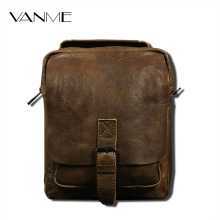 Men's Casual Oil Wax Shoulder Messenger Bag Genuine Leather Men Crossbody Business Zipper Bags For Ipad Brand Design Briefcase