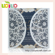 nice white printable invitation card laser cut 3d flower various size with ribbon bow wedding favor lace invitation card designs(China)