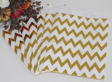 125pcs Foil Gold Chevron Pattern Craft Paper Bags Kids Birthday Party Favor Gift Food Snack Paper Bags