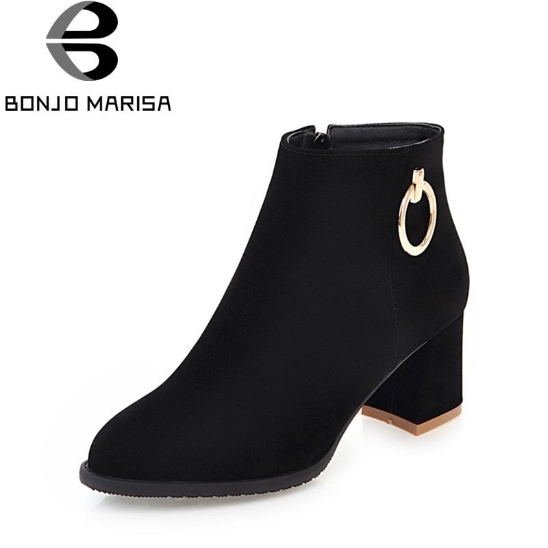 BONJOMARISA 2018 Fashion Autumn Mental Decoration Ankle Boots With Zipper High Hoof Heels Women Shoes Plus Size 34-45<br>