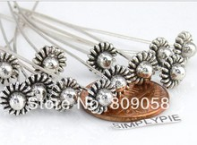 Free Shipping 100Pcs Tibetan Silver Carved Flower Head Pin Headpin Nail Needle Findings 8x7mm For Jewelry Making