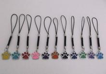 Enamel Cat Dog/Bear Paw Prints Footprints Rotating Charms Dangle Pendant For Vintage Silver Bag Cord Phone Key Ring Mixed 50 PCS(China)