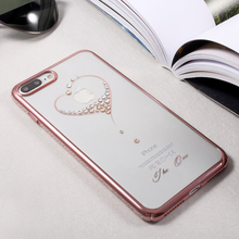 KINGXBAR luxury Phone Case for iPhone 7 Cases Swarovski Rhinestone Crystal PC Cover for 7 Plus Coque (Rose Gold /Gold/ Edge)