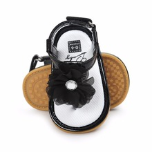 Baby Girls Shoes Floral Princess Beautiful Flower Sandals Flat Roman Non-Slip Soft Sole Sneakers Newborn Infant Black