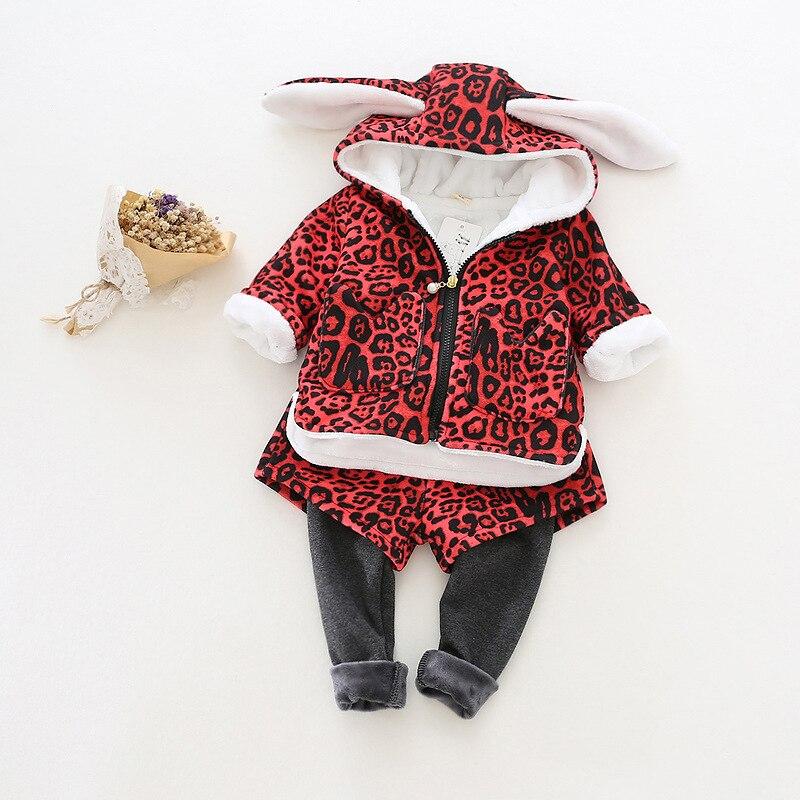 2016 Fashion Girls Clothing Sets Hoody+Pants 2pcs/Set Leopard Cartoon Tops and Pants Set Winter Baby Girls Clothes<br>