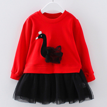 Spring Autumn Red Girls Patchwork Tutu Dress 2017 dziecko 3D Swan Top Long-sleeve Kids Party Spring Clothing Children Costume
