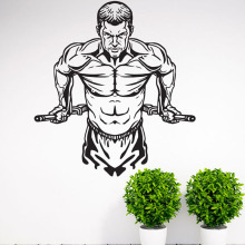 Workout Gym Fitness Wall Stickers Home Decor Vinyl Adhesive Strong Man Wall Decals Living Room Wall Decoration