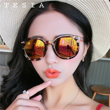 TESIA Sunglasses Flower Marble Pattern Sunglasses Women Oversize Goggle Frame Mirror Flat Vintage Retro Lens Sunglasses T1554(China)