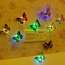 Fashion 5pcs Flashing Colorful Butterfly night light baby bedside lights Indoor lighting decorations Party Christmas Nightlights