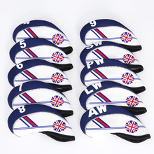 Golf Club Iron Head Cover Set 10pcs Neoprene  White With Blue Britain Flag Headcovers One size Fit All Irons Outdoor Accessories