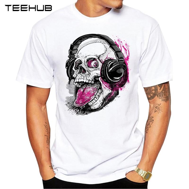 Men's Fashion Raspberry Skull With Headphones Design Short Sleeve O-neck T-Shirt
