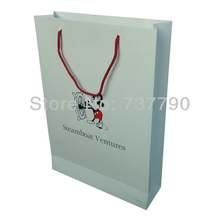 custom printed logo gift paper bag/Recyclable packaging white paper bag for carrier(China)