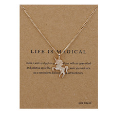 Fashion Jewelry Life Is Magical Unicorn Statement Necklace Women Girl Chocker Pendant(China)