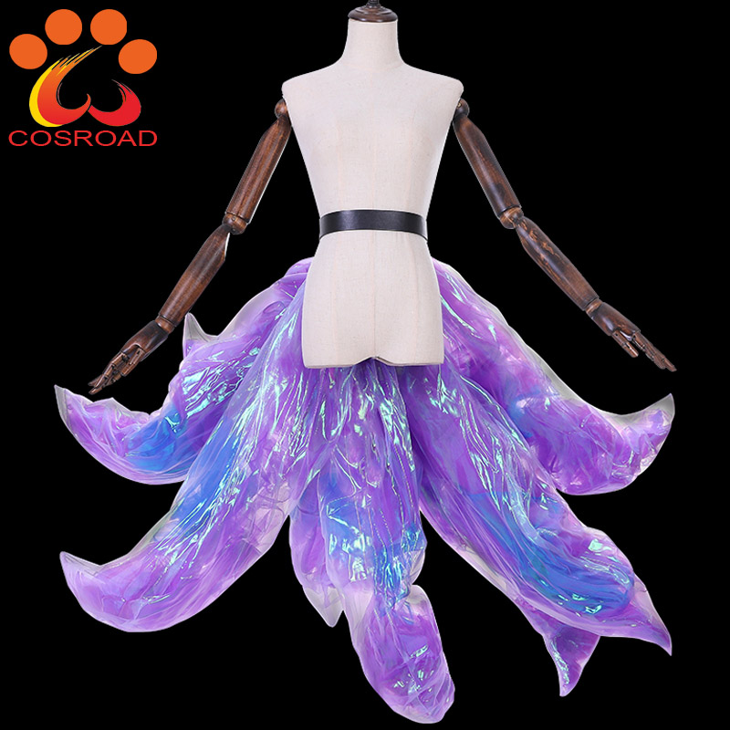 Cosroad LOL KDA Ahri Nine Tailed Cosplay Costume Wigs With Fox Ears Cosplay Props Accessories