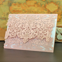 10Pcs Wedding Invitations Cards Favor Elegant Party Birthday Wedding Invitation Custom with Envelope Delicate Carved Pattern(China)