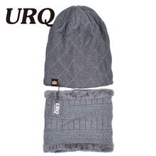 Scarf & Hat Sets men cap 2 set of adult Winter Warm Crochet knitted Hats and scarves(China)