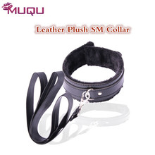 Buy Sex shop bondage collar leather plush long chain sex toys couples slave collar SM games gay fetish strapon erotic toys