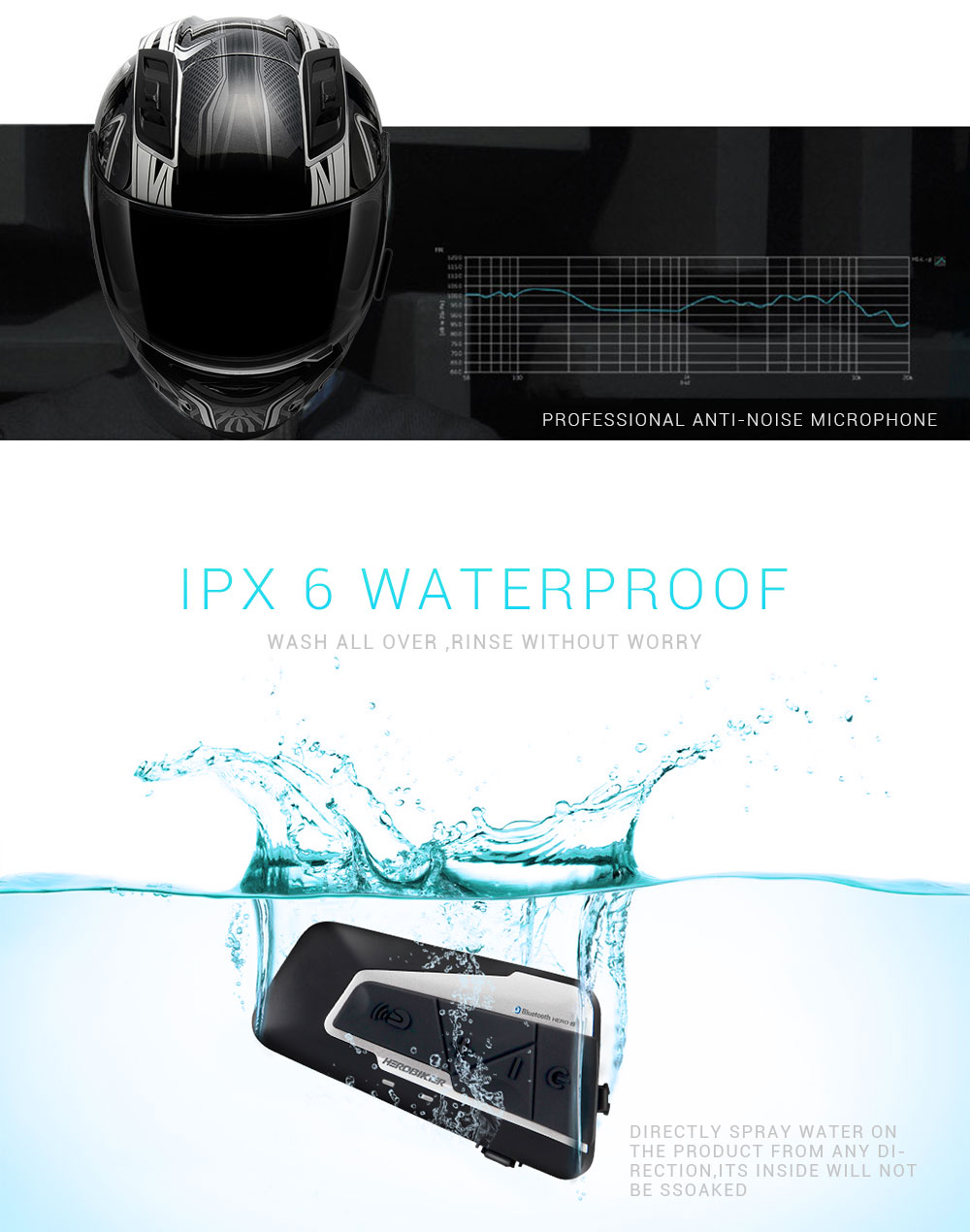 HEROBIKER 1200M Bluetooth Intercom Motorcycle Helmet Interphone Headset Waterproof Wireless Bluetooth Moto Headset Interphone