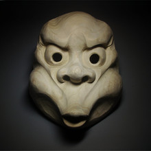 Sculpture Noh-Mask Fireman Boedha Wall-Decoration Artwork Wood Abstract Japan