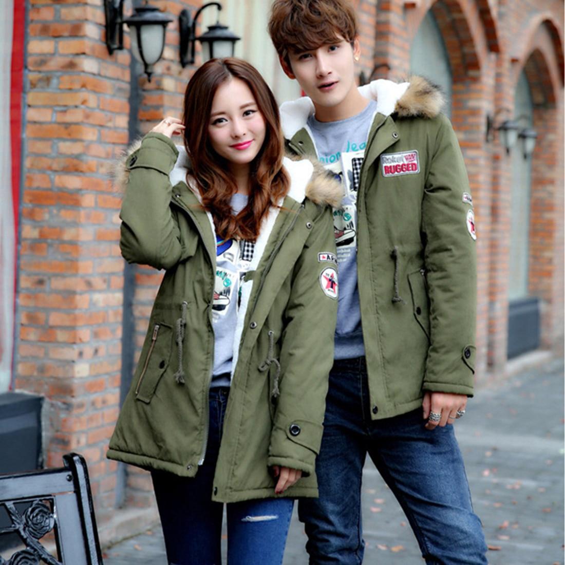 Fashion Women and Men Winter Warm Coat Casual Plus Size Hooded Zipper Up Couple Jackets Outwear Parka Green Red KhakiÎäåæäà è àêñåññóàðû<br><br>