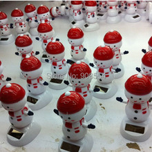 Wholesale 10Pcs Per Lot  Swing Under Sunshine No Battery Solar Powered  Christmas Gift Happy Dancing Solar Snowman Style Dolls