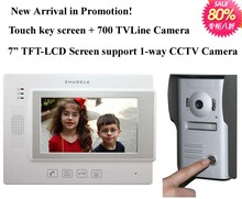 ZHUDELE International quality new 7: video door phone,touch key screen+700 TVL HD camera, support extra CCTV CAMERA, 1 TO 1(China)