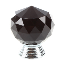 Black Round Crystal Glass Cabinet Drawer Door Pull Knobs Handles 30mm