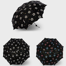 Three Folds Anti-UV Protection Umbrella Flowers Pattern Color Changing Umbrella - five different colors