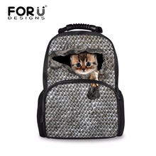 FORUDESIGNS Super Cute Animal School Bags Large Felt Laptop Backpacks for Students Mochila Escolar College 3D Cat Schoolbags