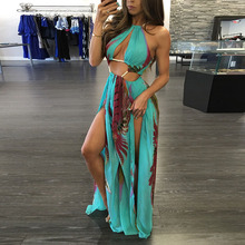 High Quality 2017 Halter Off the Shoulder Flowers Printing Pattern Split Floor-Length Casual Beach Summer Long Dresses