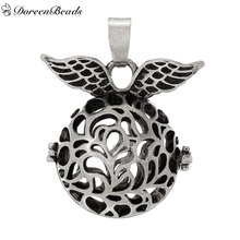 DoreenBeads Copper Wish Box Pendants Round Wing Hollow Carved Can Open (Fit 16mm Beads) About 33mm x 27mm, 2 PCs
