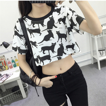 2017 Summer Harajuku Fashion Crop Top Students Cartoon Cat Printed Female T-shirt Casual Slim New Funny Tee Shirts White Pink XL(China)