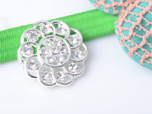 Free Shipping Rhinestone Embellishment Button Without Loop 22mm 20pcs/lot Flat Back Silver Color