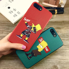 5PLUS New Arival Luxury Simpson Cartoon Phone Case For iphone X 6 7 8 6S Plus Cover Leather Skin X SUP Silicone Bumper Coque(China)
