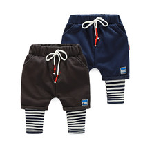 LavnLavn baby boys pants kids harem pants boys casual pant striped spliced cotton trousers for boy, 2-6 yrs(China)