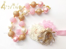 Chunky Gold & Pink Shimmer Bubblegum Bead Necklace for Girls, Gold Birthday, Baby Necklace gold pink Headband CB801(China)
