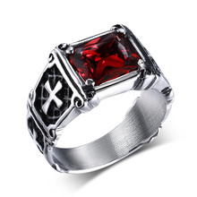 Mprainbow Vintage Mens Rings Stainless Steel Red Large Crystal Dragon Claw Cross Ring Band Gothic Biker Knight Punk Jewelry 2017(China)