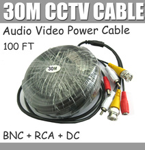 30M 100FT CCTV Cable with Audio RCA connector Video Audio DC Power Cable 3 in one for CCTV camera,  BNC+RCA+DC free shipping